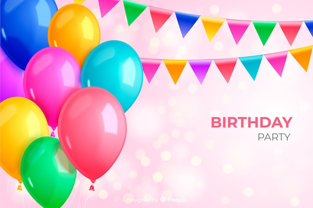 Fundo de balão de festa de aniversário realista Vetor grátis