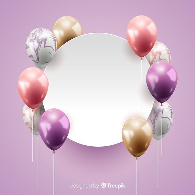 Fundo de balão tridimensional lustroso com banner em branco Vetor grátis