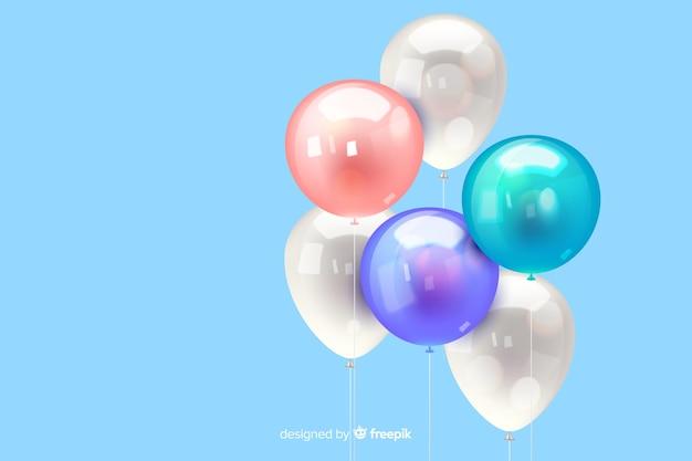 Fundo de balão tridimensional realista lustroso Vetor grátis