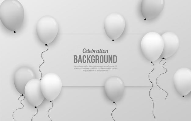 Fundo de ballon prata premium para festa de birhtday, formatura, evento de comemoração e férias Vetor Premium