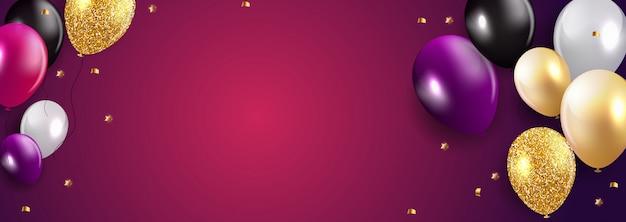 Fundo de balões de feliz aniversário brilhante Vetor Premium