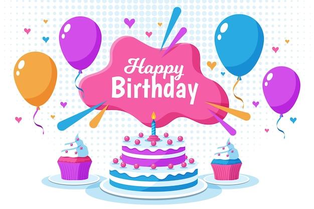 Fundo de balões de feliz aniversário Vetor grátis
