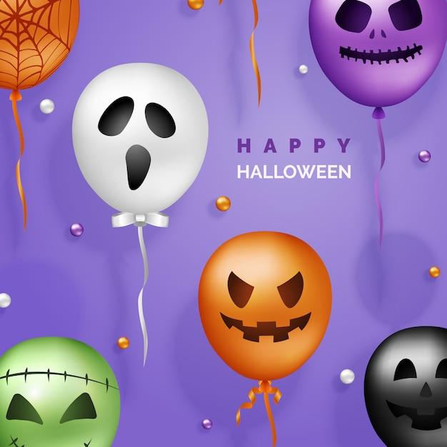 Fundo de balões de halloween 3d Vetor Premium
