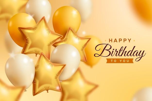 Fundo de balões dourado e branco realista feliz aniversário Vetor grátis