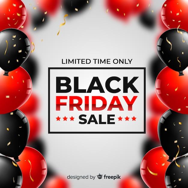 Fundo de balões realistas preto venda sexta-feira Vetor grátis