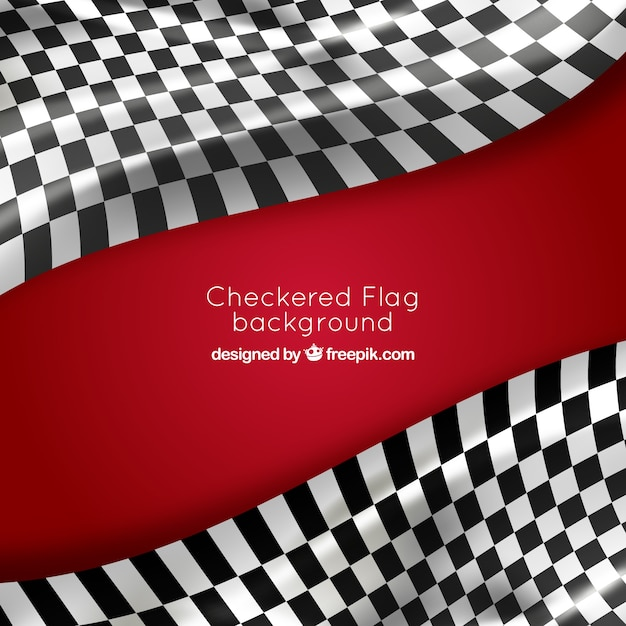 Fundo de bandeira quadriculada com design realista Vetor grátis