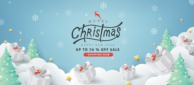 Fundo de banner de venda de feliz natal. Vetor Premium