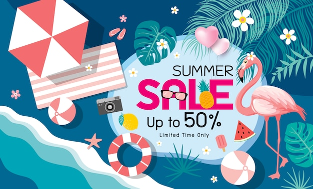 Fundo de banner de venda de verão Vetor Premium