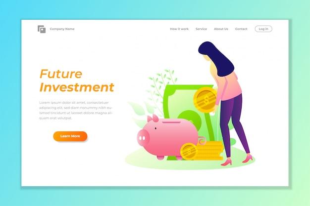 Fundo de banner de web de investimento com ilustração vetorial de cofrinho Vetor Premium