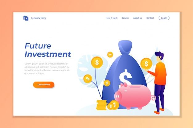 Fundo de banner de web de investimento de dinheiro Vetor Premium