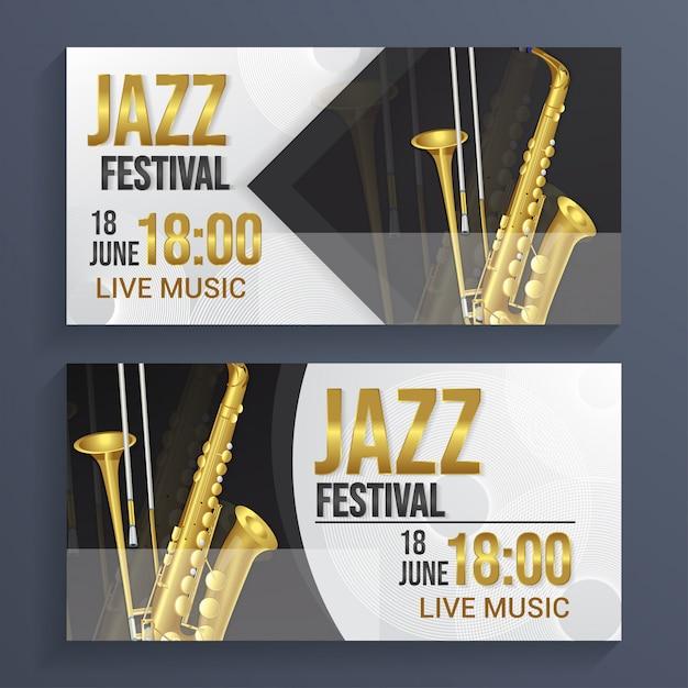 Fundo de banner do festival de jazz Vetor Premium