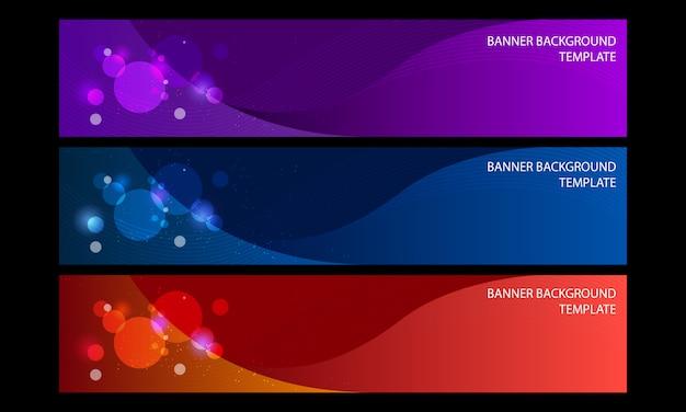 Fundo de banner elegante 3 cor abstrata Vetor Premium