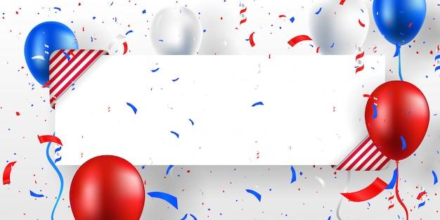 Fundo de banner festivo com balões, decorações e confetes. lugar para texto. ilustração em vetor cor eua (estados unidos da américa). Vetor Premium