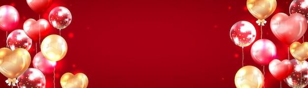 Fundo de banner vermelho horizontal decorado com balões vermelhos e dourados brilhantes Vetor Premium