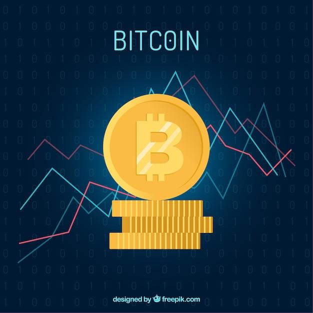 Fundo de bitcoin com gráfico Vetor grátis
