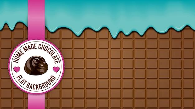 Fundo de bloco de chocolate marrom Vetor Premium