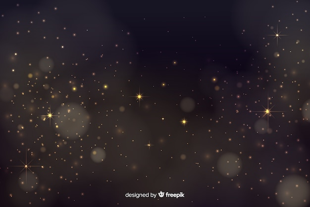 Fundo de bokeh com partículas douradas Vetor grátis