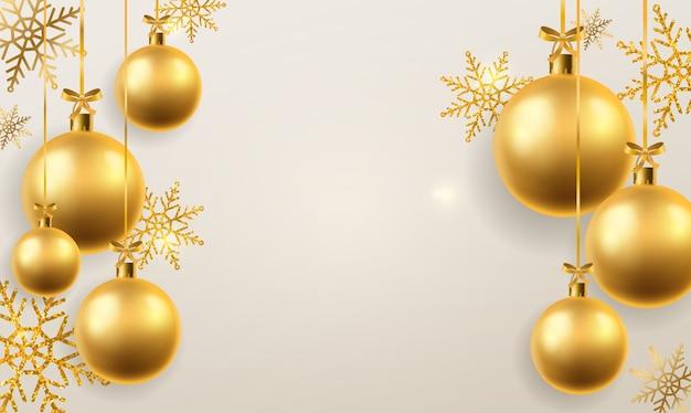 Fundo de bola de natal. esferas de brinquedos de árvore de natal douradas penduradas, decoração. férias de inverno e ano novo festivo abstrato pendurado cenário bugiganga realista Vetor Premium