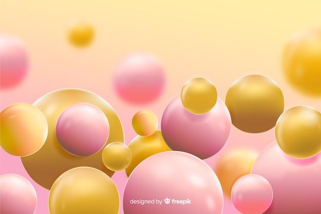 Fundo de bolas amarelas fluindo realista Vetor grátis