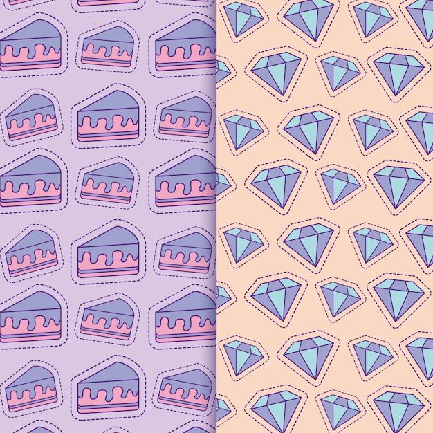 Fundo de bolos e diamantes Vetor Premium