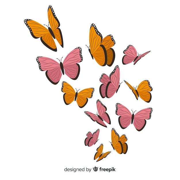 Fundo de borboleta desenhada de mão Vetor grátis