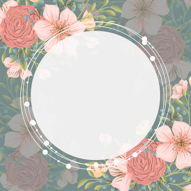 Fundo de borda floral - grinalda de flor rosa Vetor grátis