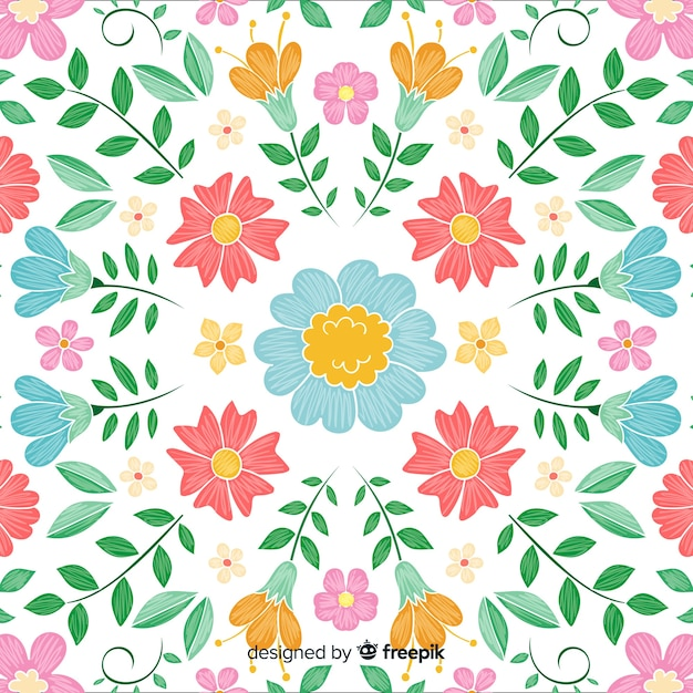 Fundo de bordado floral colorido Vetor grátis