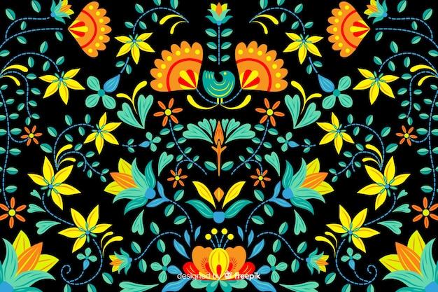 Fundo de bordado floral mexicano Vetor grátis