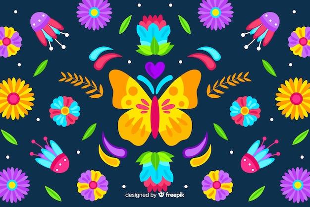 Fundo de bordado floral tradicional mexicano Vetor grátis