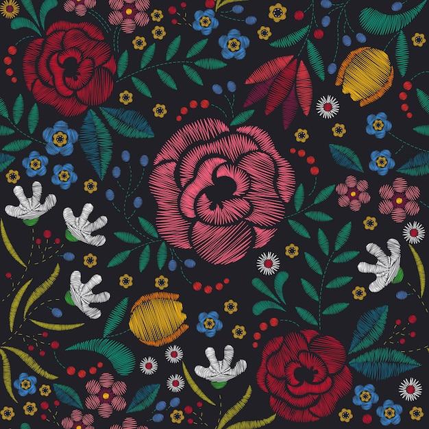 Fundo de bordado floral Vetor Premium