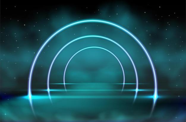 Fundo de brilho de néon de vetor com nuvens verdes azuis em preto Vetor Premium