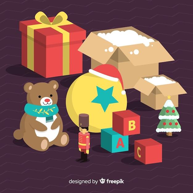 Fundo de brinquedo de natal Vetor grátis