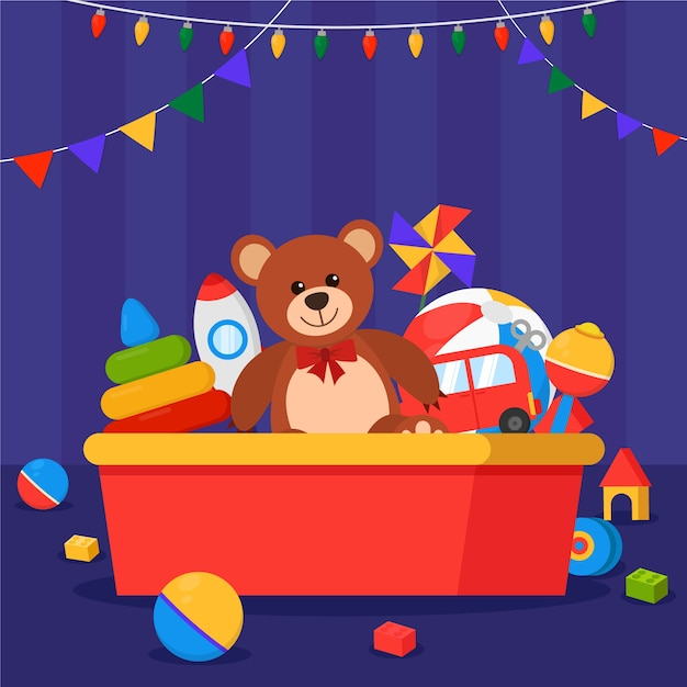 Fundo de brinquedos de natal em design plano Vetor grátis