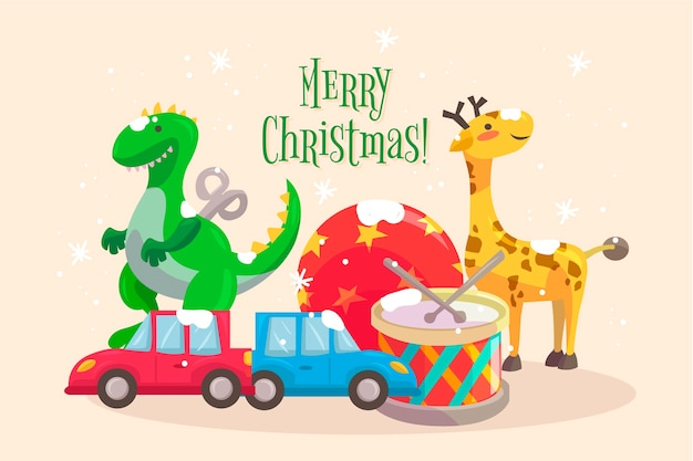 Fundo de brinquedos desenhados à mão de natal Vetor grátis