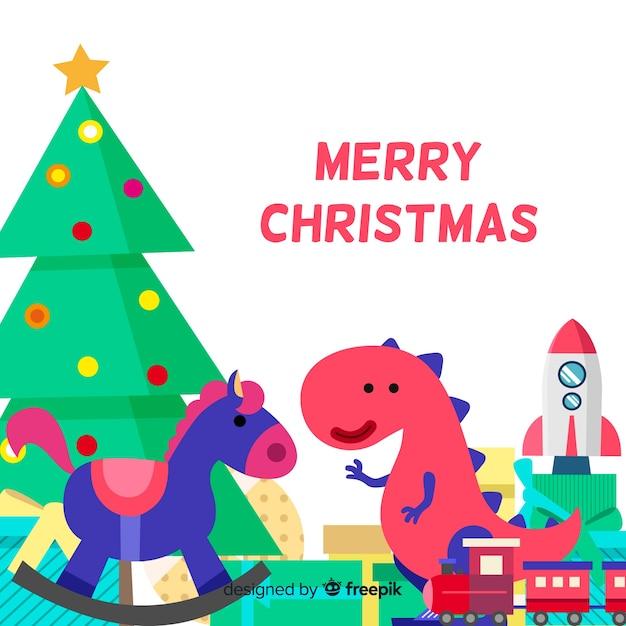 Fundo de brinquedos fofos de natal Vetor grátis