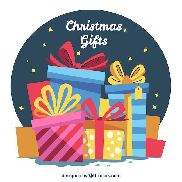 Fundo de caixas retros de presentes de natal Vetor grátis