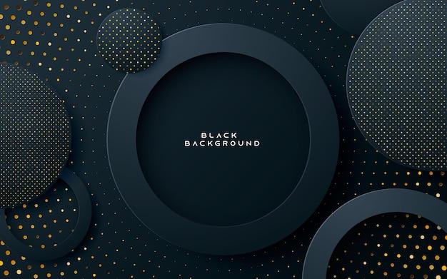 Fundo de camada de círculo preto com brilhos dourados Vetor Premium