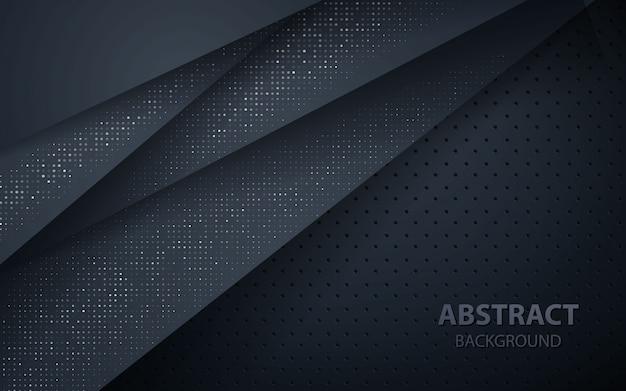 Fundo de camadas de sobreposição escura com brilhos de prata Vetor Premium