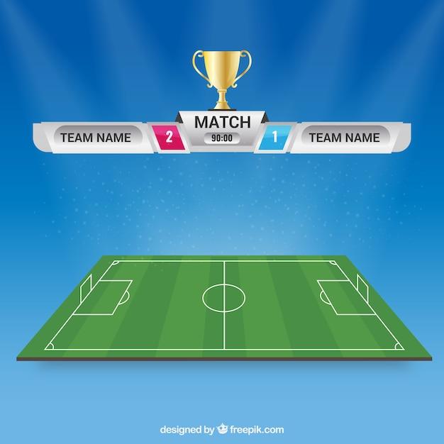 Fundo de campo de futebol com placar Vetor Premium