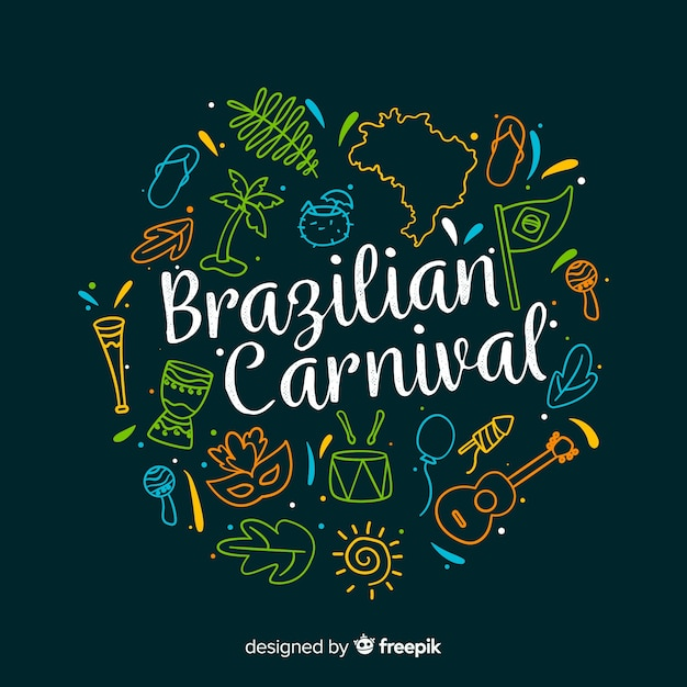 Fundo de carnaval brasileiro de mão desenhada Vetor grátis