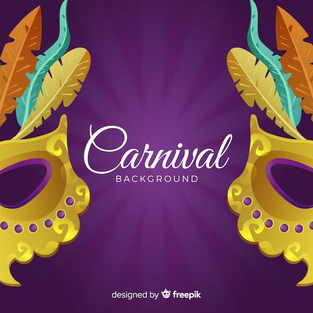 Fundo de carnaval de máscara de ouro Vetor grátis