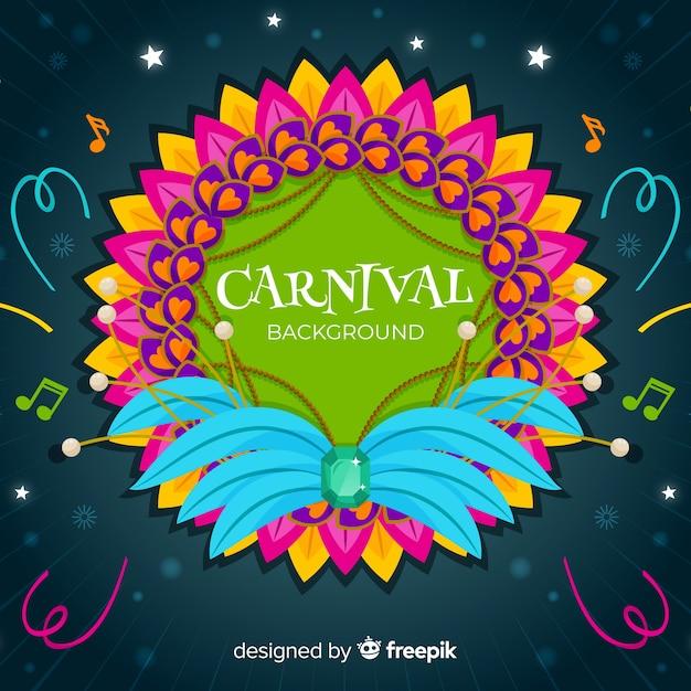 Fundo de carnaval de moldura de penas Vetor grátis