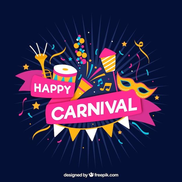 Fundo de carnaval desenhado à mão Vetor grátis