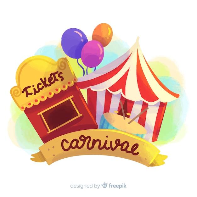 Fundo de carnaval em aquarela Vetor grátis