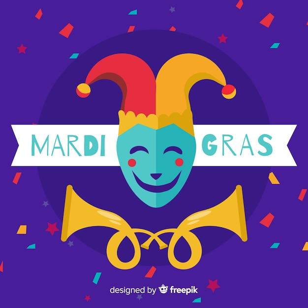 Fundo de carnaval plano mardi gras Vetor grátis
