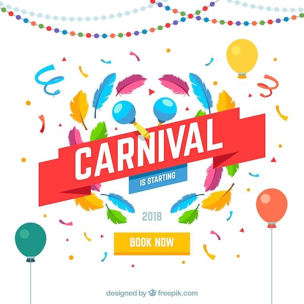 Fundo de carnaval plano Vetor grátis