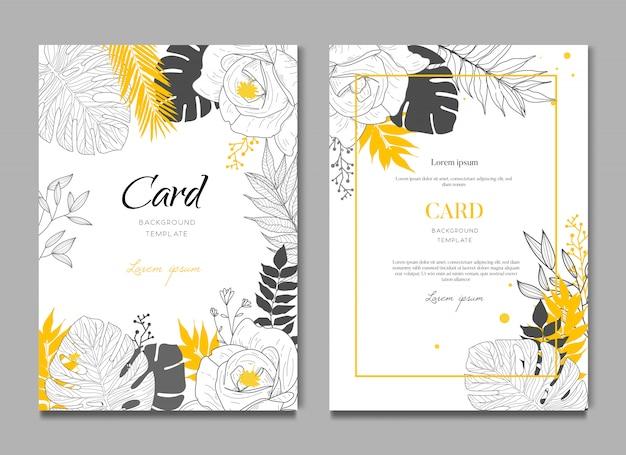 Fundo de cartão de casamento tropical Vetor Premium