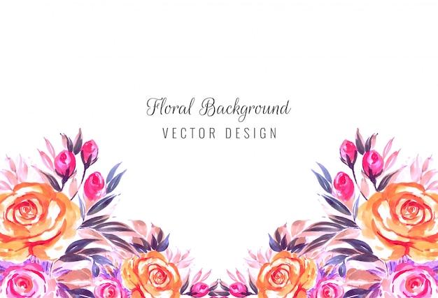 Fundo de cartão de flores em aquarela de convite de casamento Vetor grátis
