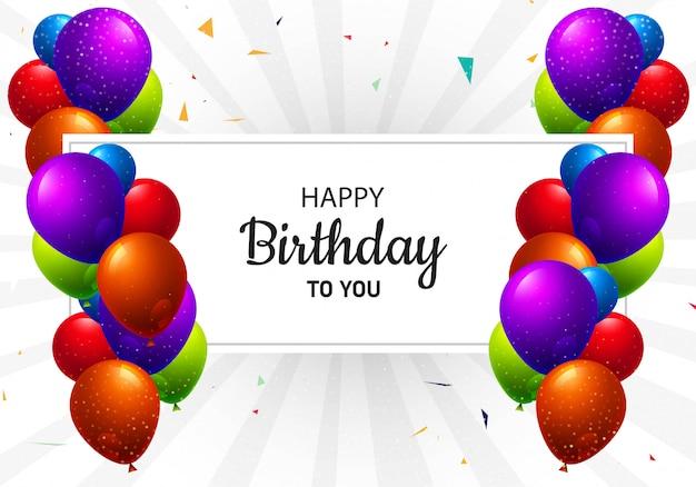 Fundo de cartão realista feliz aniversário balões multicoloridos Vetor grátis
