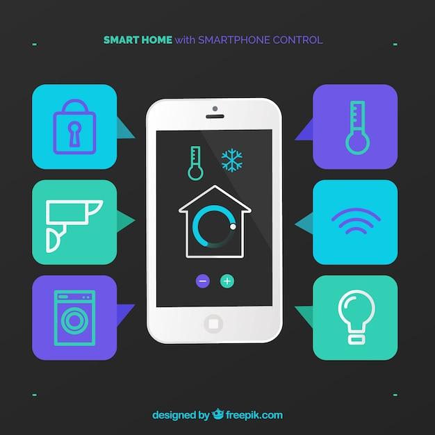 Fundo de casa inteligente com controle de smartphone Vetor grátis